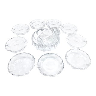 Vintage Mid-Century Nachtmann Crystal Faceted Serving Bowls, Germany - 11 Piece Set For Sale
