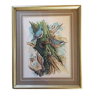 """Birds on a Branch"" Framed Watercolor Painting For Sale"