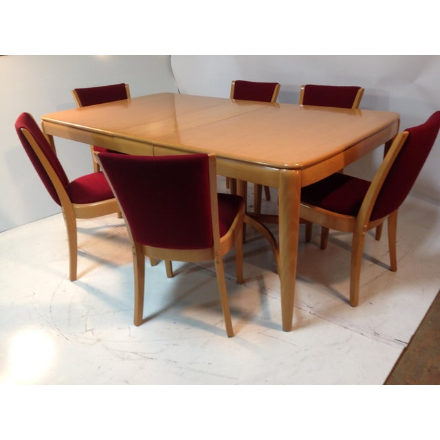 Vintage 1940s Heywood Wakefield solid birch dining table with 2 leaves and 6 dining chairs in excellent refininished...