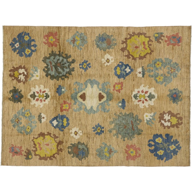 Textile Colorful Turkish Oushak Rug - 8′3″ × 11′ For Sale - Image 7 of 7