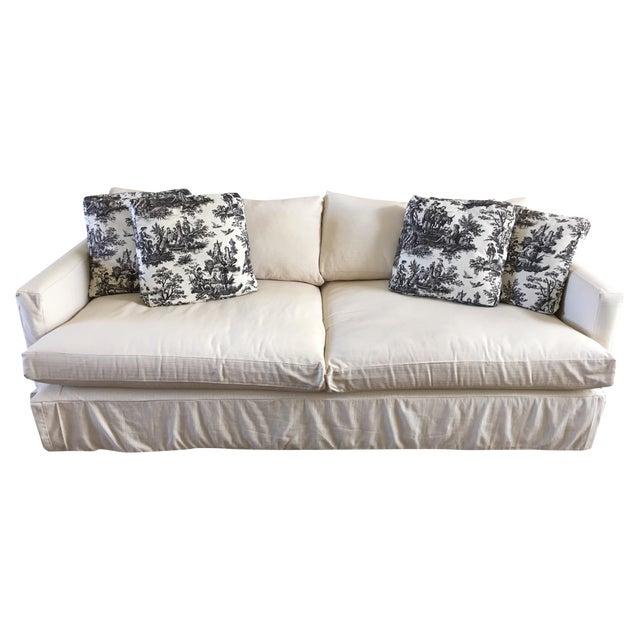 "Crate & Barrel 93"" Slipcover Lounge Sofa - Image 1 of 7"