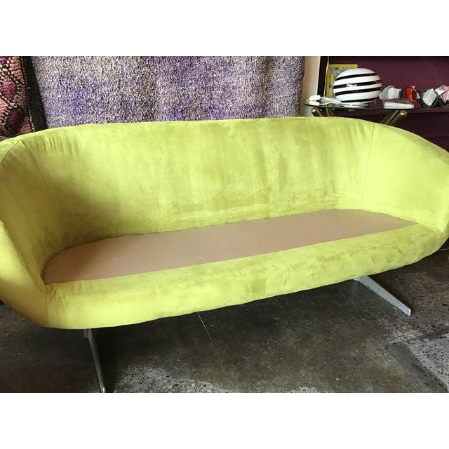 1960s 1960s Vintage Lime Green Velvet Overman Pod Sofa For Sale - Image 5 of 9