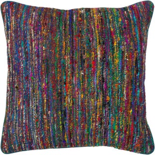 Colorful Sari Silk and Wool Down Fill Modern Pillow 18'x18' For Sale