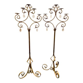 1950s Italian Wrought Iron Floor Candelabras With Crystal Pendants - a Pair For Sale