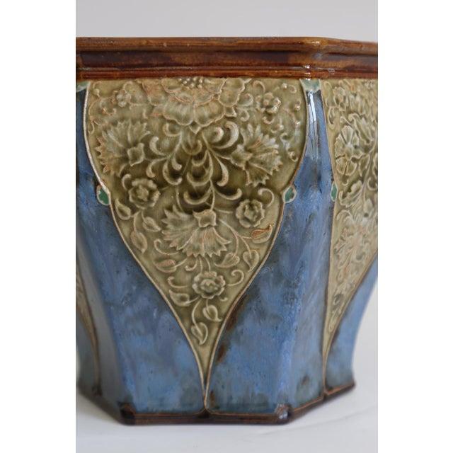Art Nouveau Antique English Royal Doulton Art Nouveau Jardiniere For Sale - Image 3 of 6