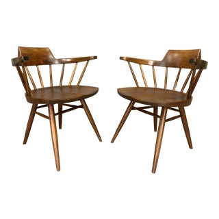 George Nakashima Pair of Captain's Armchairs For Sale