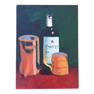 Wine Bottle Still Life Painting on Canvas For Sale