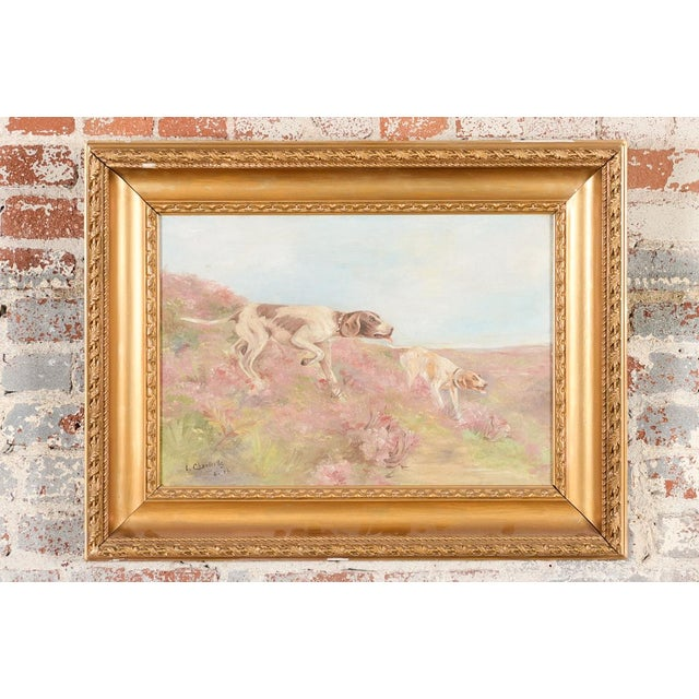 """Hunting hounds -Oil Painting on canvas L. Chantrelle 1914 -Signed size 29 x 32"""" A beautiful piece that will add to your..."""