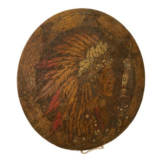 Profile Pyrogravure Roundel of Indigenous Chief Wood Engraving For Sale