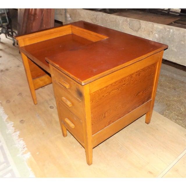Rustic 1960s Rustic Oak Writing Desk For Sale - Image 3 of 10
