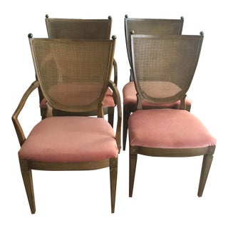 Vintage Cane Dining Chairs With Brass Finials - Set of 4 For Sale