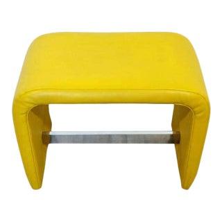 Mid Century Modern Baughman Thayer Coggin Waterfall Bench Yellow Vinyl Chrome For Sale