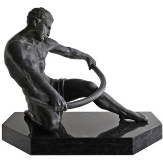 Early 20th Century Vintage Art Deco Seminude Male Sculpture For Sale