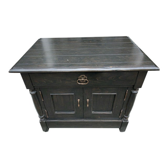 Bausman & Company English Nightstand With Inlaid Plank Top For Sale