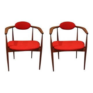 Adrian Pearsall for Craft Mid-Century Walnut & Red Armchairs - a Pair