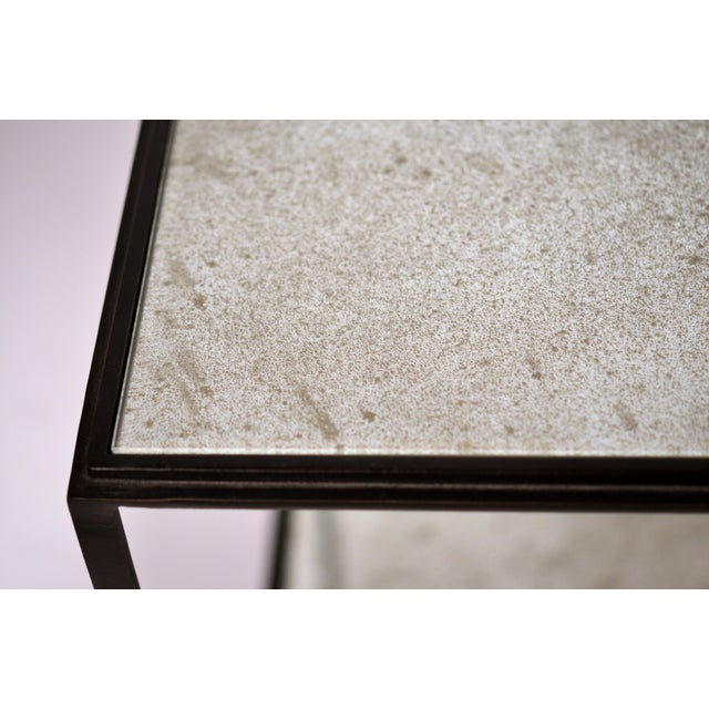 Metal 'Rectiligne' Mirrored End Tables by Design Frères - a Pair For Sale - Image 7 of 9