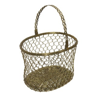 French Country Woven Brass Basket Mid-20th Century For Sale