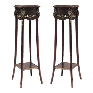 Louis XV Mahogany and Bronze Pedestals - a Pair For Sale