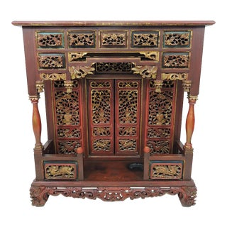Vintage Thai Red & Gold Carved Wood Console Table, Asian 'Spirit House For Sale