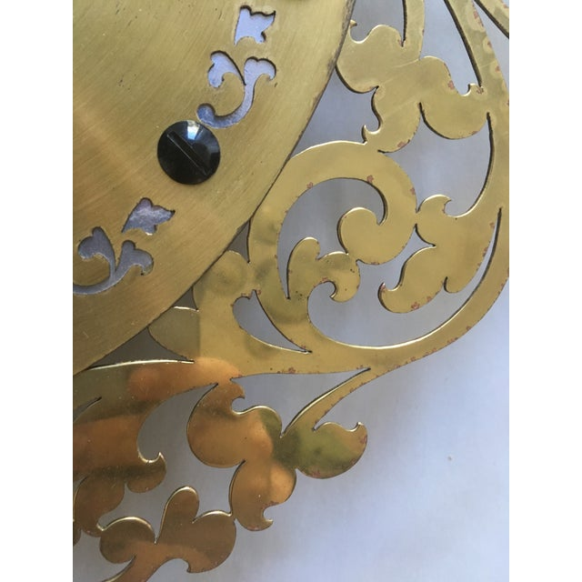 Large Filigree Mid Century Wall Clock For Sale In Palm Springs - Image 6 of 7