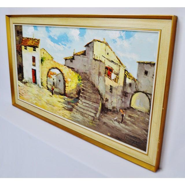 Blue Framed European Village Scene Oil Painting For Sale - Image 8 of 11
