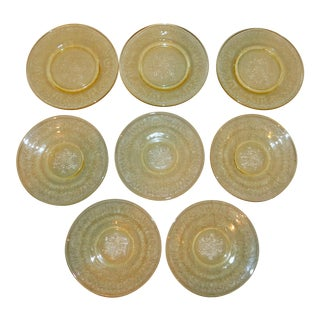 Yellow Depression Glass Plates - Set of 8 For Sale