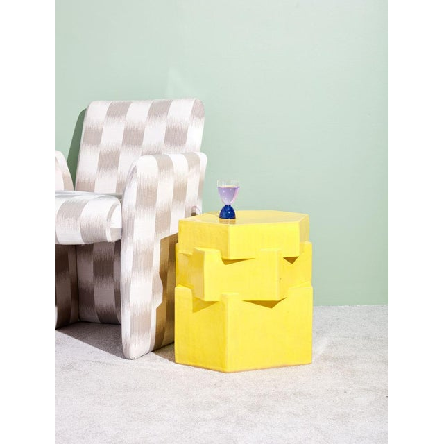 New ceramic side table by Bari Zipperstein. Handmade ceramic table with vibrant glossy yellow glaze.