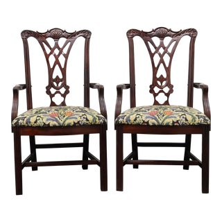 Thomasville Mahogany Chippendale Straight Leg Dining Captain's Armchairs - Pair For Sale