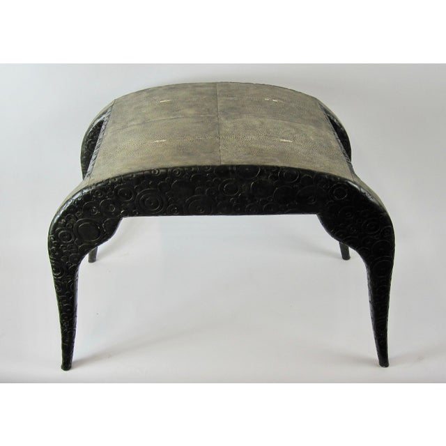 This 1980s Modern French-style bench/stool is made by R & Y Augousti, Paris. Constructed of geometrically carved wood...