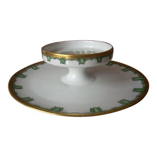 Antique Handpainted Serving Plate For Sale