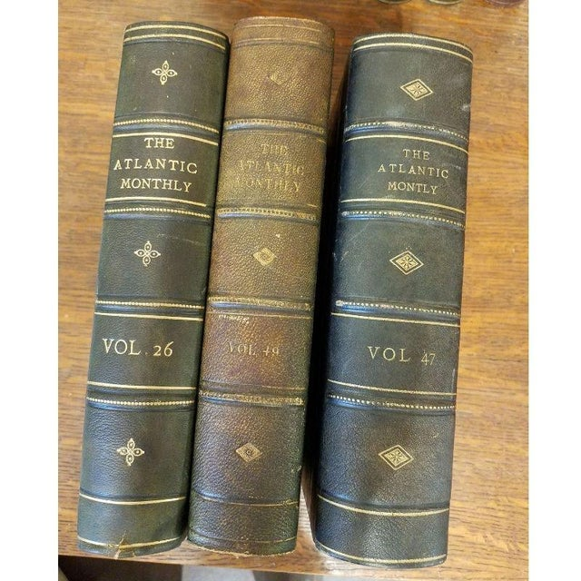 "Mid 19th Century Vintage Nine Volume Set ""The Atlantic Monthly"" Leather Books For Sale - Image 5 of 9"
