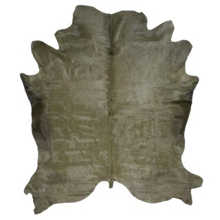 Military Green Cowhide Rug - 7′ × 8′ For Sale