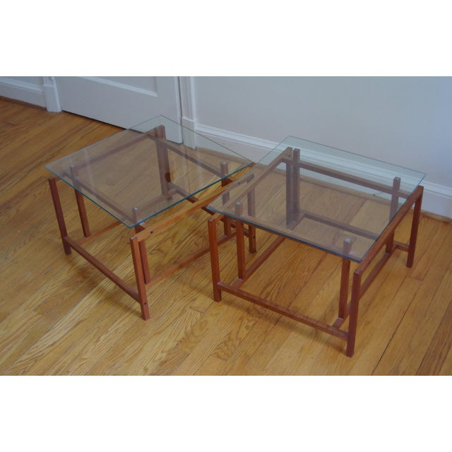 Wood Danish Henning Nørgaard for Komfort Teak and Glass Side Tables - a Pair For Sale - Image 7 of 7