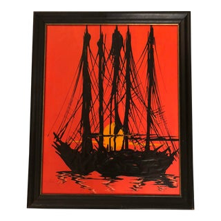 Mid-Century Impasto Ship Signed Painting For Sale