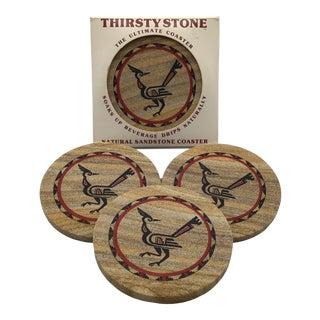 Vintage Southwestern Thirsty Stone Natural Sandstone Roadrunner Coasters - Set of 4 For Sale