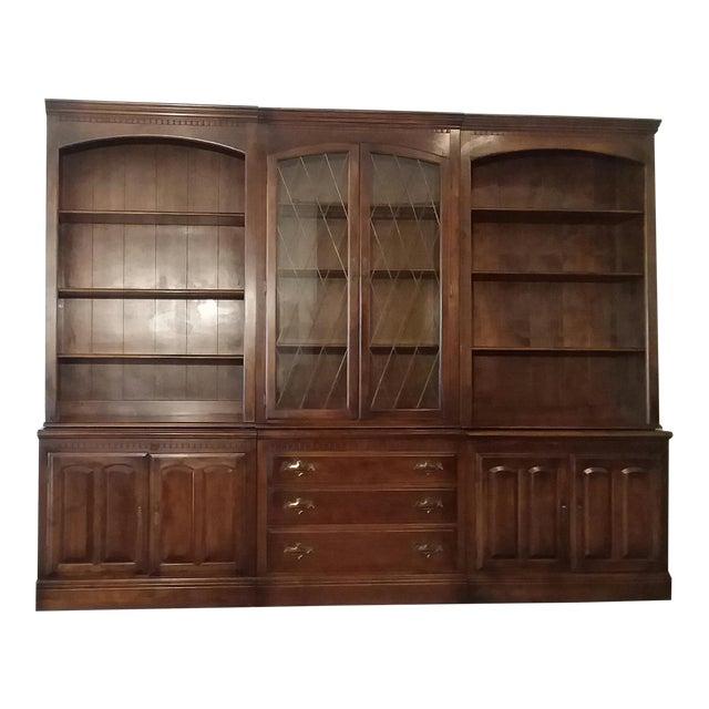1960s Ethan Allen 6 Piece Bookcase Wall Unit For Sale