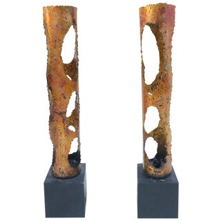 Pair of Torch Cut Candle Holders in the Manner of Tom Greene