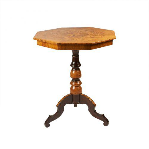 Italian Circa 1870 Inlaid Italian Octagonal Table For Sale - Image 3 of 9