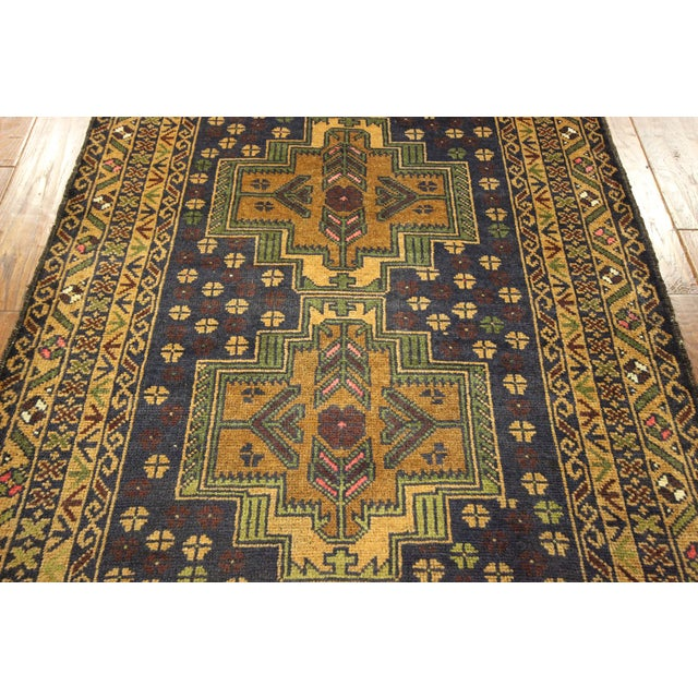 "Navy & Tan Balouch Runner Rug - 2'11"" x 9'9"" - Image 7 of 10"