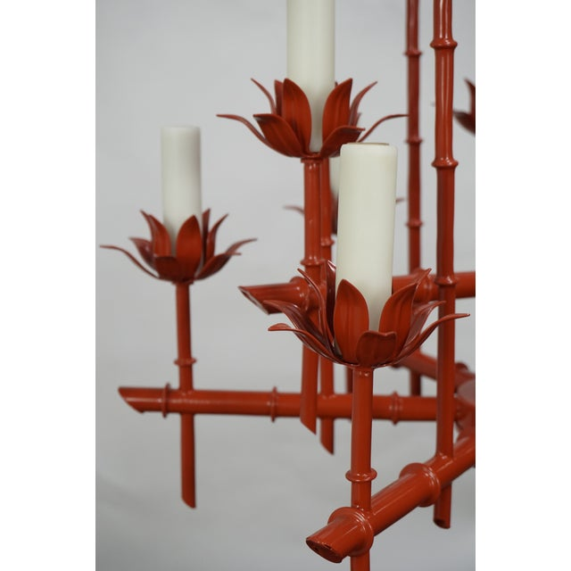 1970s Faux Bamboo Pagoda Chandelier For Sale - Image 5 of 7