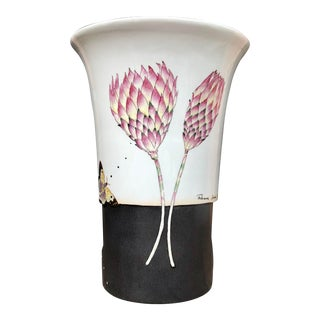 Vintage Fabienne Jouvin Paris Butterfly and Tropical Flower Porcelain Vase For Sale