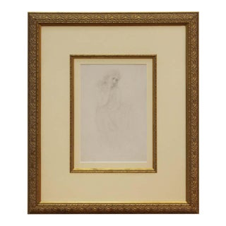 Academic Pencil Drawing of Pensive Woman, Framed For Sale