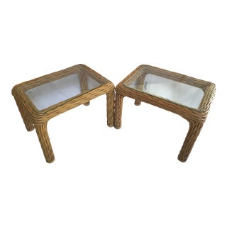 Vintage Mid-Century Twisted Pencil Reed and Wicker Chinoiserie Side Tables With Glass Tops- a Pair For Sale