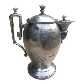Victorian AJ Stimpson Egg Shaped Patented Thermos Silver Plated Pitcher For Sale