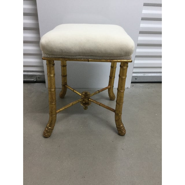 Giltwood bamboo stool circa 1870 with muslin upholstery to add your own custom touch.