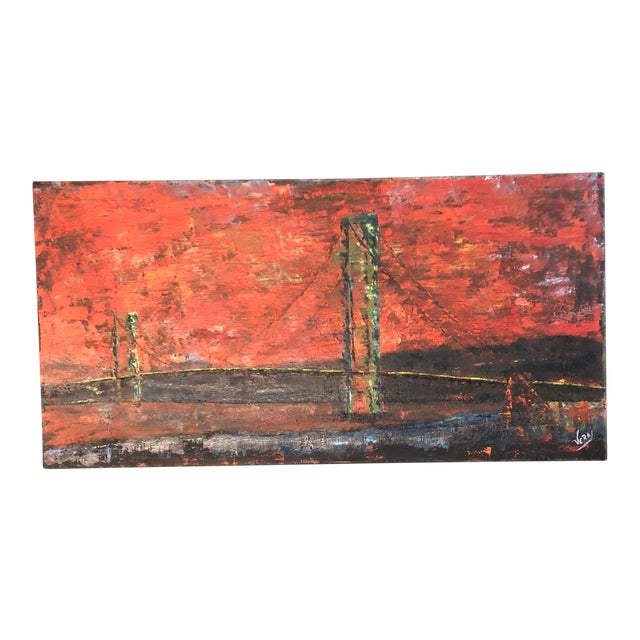 Large Vintage Abstract Bridge Painting Mid Century Signed For Sale