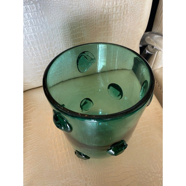 Glass Mid-Century Murano Green Glass Vase For Sale - Image 7 of 13