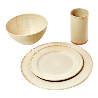 Handmade Dinner Set with Salad Plate from New York Stoneware - Set of 4 For Sale