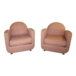 Art Deco Streamlined Club Chairs - a Pair For Sale