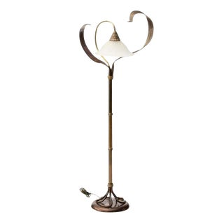 Vintage Solid Brass Chapman Art Nouveau Style Flower & Leaf Motif Floor Lamp For Sale
